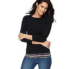 The Collection - Black zip shoulder tipped jumper