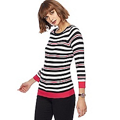 The Collection - Multi-coloured striped zip shoulder jumper