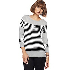The Collection - Grey striped zip shoulder jumper