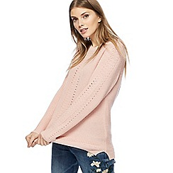 The Collection - Pink chunky knit pointelle jumper