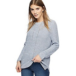 The Collection - Blue chunky knit pointelle jumper