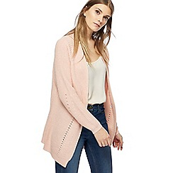 The Collection - Pink chunky knit pointelle cardigan