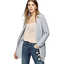 The Collection - Blue chunky knit pointelle cardigan