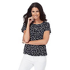 The Collection - Navy spotted bubble hem top