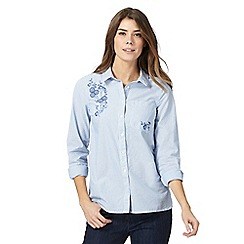 The Collection - Blue striped embroidered floral shirt