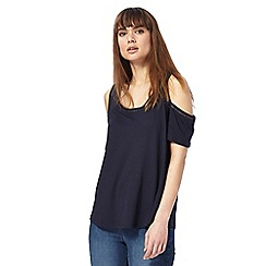 The Collection - Navy cold shoulder top