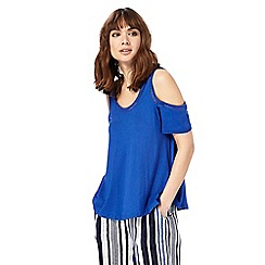 The Collection - Blue cold shoulder top