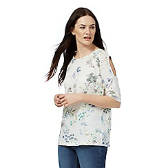 The Collection - Ivory floral print cold shoulder top
