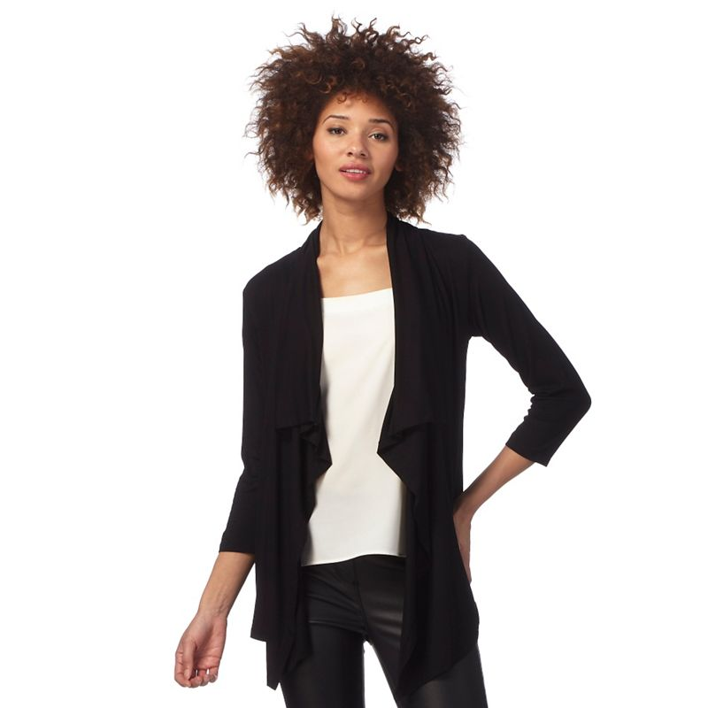 Plus Size The Collection Black Waterfall Cardigan, Womens,