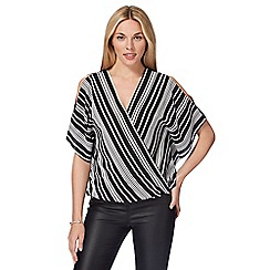 The Collection - Black striped wrap top