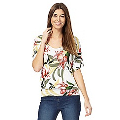 The Collection - White floral print V neck top