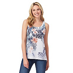 The Collection - White hibiscus print vest top with linen