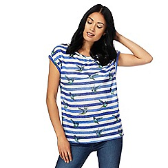 The Collection - Navy striped hummingbird print t-shirt with linen