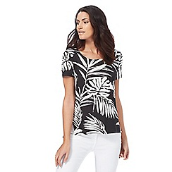 The Collection - Black palm print top
