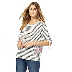 The Collection - Ivory floral striped top