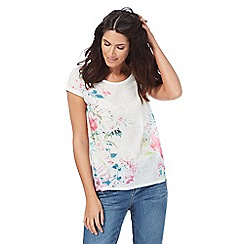 The Collection - White tropical print short sleeved top