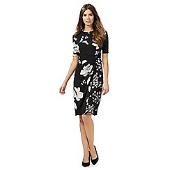 The Collection - Black floral print knee length tea dress