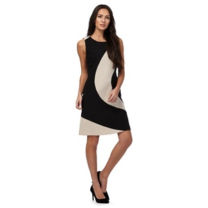 The Collection Tan curved colour block dress