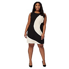 The Collection - Tan curved colour block plus size dress