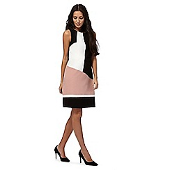 The Collection - Black and white colour block knee length shift dress