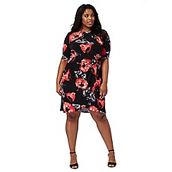The Collection - Black poppy print plus size dress