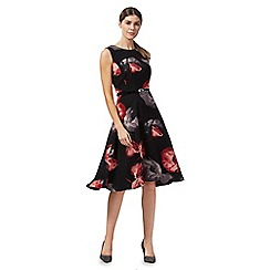 The Collection - Black poppy print midi dress