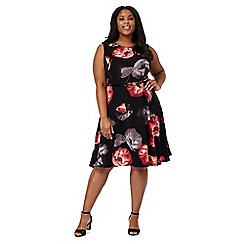 The Collection - Black poppy print plus size midi dress