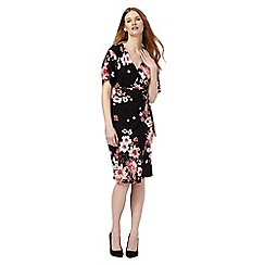 The Collection - Black floral print v-neck knee length wrap dress