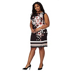 The Collection - Black oriental print plus size dress