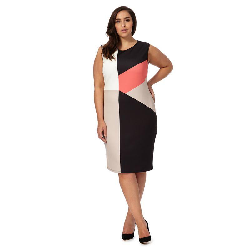 The Collection Black Colour Block Plus Size Dress, Womens,