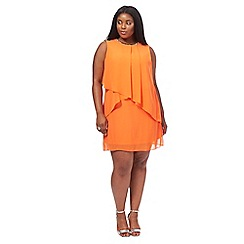 The Collection - Orange chiffon knee length plus size shift dress