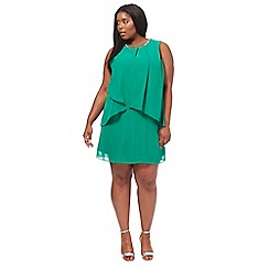 The Collection - Green chiffon knee length plus size shift dress