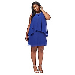The Collection - Blue chiffon knee length plus size shift dress