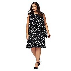 The Collection - Navy spot print plus size dress