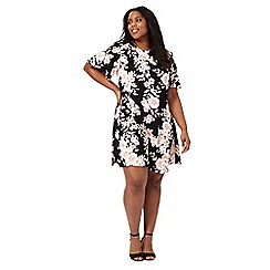 The Collection - Black floral print plus size swing dress