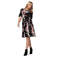 The Collection - Black floral print tea dress