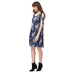 The Collection - Blue floral print cold shoulder knee length tea dress