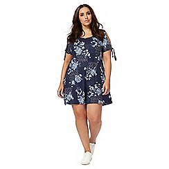 The Collection - Blue floral print open shoulder plus size swing dress