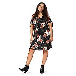 The Collection - Multi-coloured floral and spot print plus size swing dress