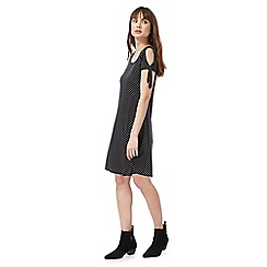 The Collection - Black polka dot print cold shoulder knee length shift dress