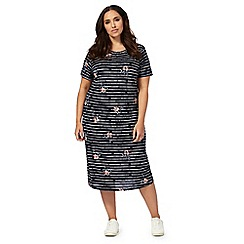The Collection - Navy striped floral print plus size midi dress