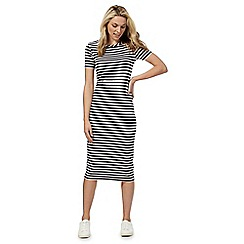 The Collection - Navy striped print midi dress