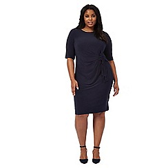The Collection - Navy short sleeve ruched plus size jersey dress