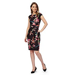 The Collection - Black 'Iris' plus size tropical print dress