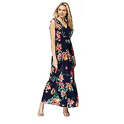 The Collection - Navy floral print V-neck maxi dress