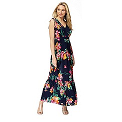 The Collection - Navy floral print V-neck plus size maxi dress