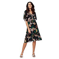 The Collection - Multi-coloured floral print kimono dress