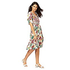The Collection - Multi-coloured floral print kimono dress