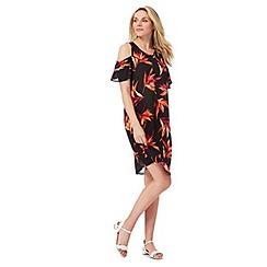 The Collection - Black floral print plus size cold shoulder dress
