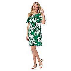 The Collection - Green palm print cold shoulder dress